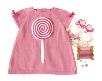 Knitted baby dress pink with a crochet lollipop. 100% cotton. Made to order.