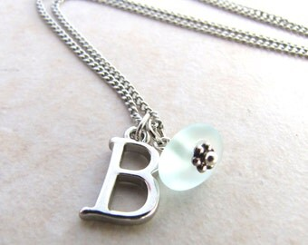 Seaglass Necklace, Sea Glass Necklace, Personalized, Initals, Monogrammed, Gifts for Her, Beach Jewelry