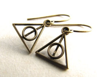 Deathly Hallows Earrings, Harry Potter Earrings, Deathlyhallows, Slytherin, Hufflepuff, Ravenclaw, Griffendor, Magic
