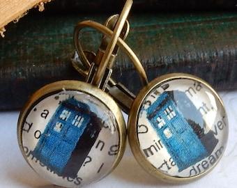 Doctor Who Earrings, Doctor Who Tardis Earrings, Smaller TARDIS Earrings, Doctor Who Jewelry