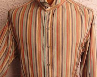 60's Vintage Men's Striped Silk Shirt 20's style large/long