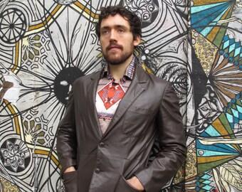 70s Vintage Men's Dark Brown Leather Blazer Jacket 38