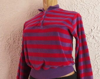 70's Vintage Striped Cotton Velour Sweater Top small