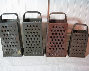 4 Vintage Metal Graters, Box Grater,  Primitive, Rustic Kitchen Utensil