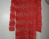 Crochet lace flowers coral pink girls womens  long sleeves dress tunic Ready to ship