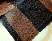 Tobacco Gold, Chocolate Brown and Lavender Handwoven 100% Cotton Dishtowel