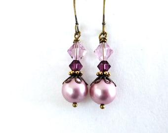 Dusty pink pearl brass earrings - antiqued brass, mauve purple crystal, pink pearl, Austrian crystal bead earrings, pearl brass jewelry
