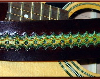 GREEN SCALLOP Design • A Beautifully Hand Tooled, Hand Crafted Leather Guitar Strap