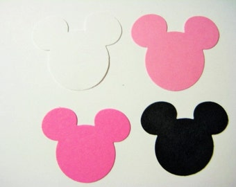 100 Black White Pink Mickey Mouse punch die cut embellishments E1656