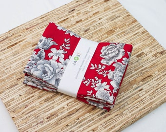 Large Cloth Napkins - Set of 4 - (N4002) - French Roses Red Modern Reusable Fabric Napkins