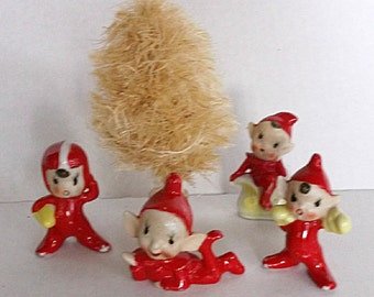 Vintage Pixie Christmas Elves Chippy Red Paint