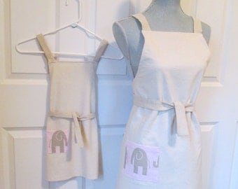Recycled Painters Cloth Mom and Me Apron Set