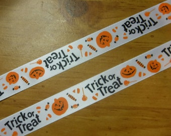 White Trick or Treat Pumpkins Ribbon 3 Yards
