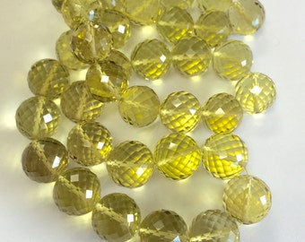 Lemon Quartz Faceted Rounds-Graduated