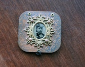 Handmade Etched Copper and Antique Tintype Pendant