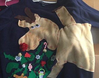 Couple's Set Rudolph's Revenge NEW Ugly Sweater Duo design puking christmas