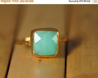 SALE - Chrysoprase Ring - Mint Green Ring - Gemstone Ring - Stacking Ring - Gold Plated - Cushion Cut Ring