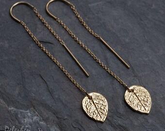 Gold Ear Thread Earring - Rose Leaf Charm Ear Threader Earrings - Minimal Jewelry - Long Gold Dangle Earring - Minimalist Jewelry