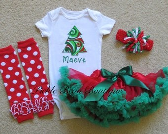 Baby Girls Christmas Outfit - Christmas Tree Personalized Baby Bodysuit Shirt - Leggings Leg Warmers - Red Green Christmas Pettiskirt Tutu
