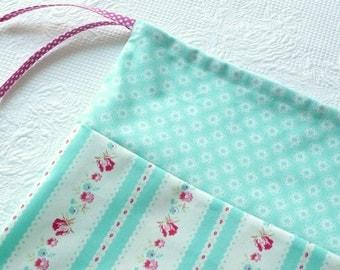 Shabby Chic Laundry Bag. Cottage Chic. Fresh Aqua Ticking drawstring bag. small flowers europeanstreetteam