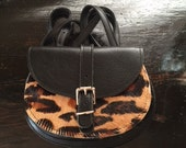 Small Hunting Bag-Leopard in the front with black leather in the back