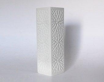 Mid Century Rare Architectural White Bisque Square Star Relief Vase - Mitterteich Bavaria, 1970s