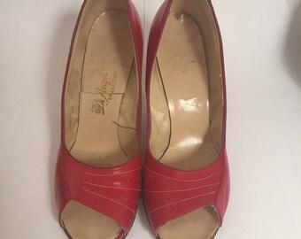1950s Red Peep Toe Heels Sz. 9