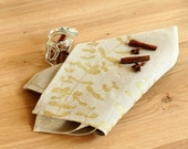 Gold eucalyptus flax tea towel