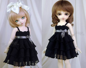 Black ruffle dress for TINY bjd LittleFee Momocolor 29, Saintbloom