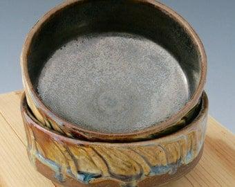 Two Matching Ceramic Shino Bowls #01, Gold to Brown Pottery Bowl, Gold Shino Glazed Bowl, Large Yunomi