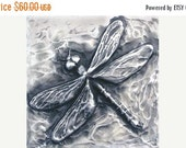 Spring Sale 10% Dragonfly Bas Relief Sculpture Plaque in fine silver pewter
