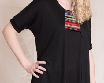 Handmade Black Dolman Sleeved Blouse with Mexican blanket inset