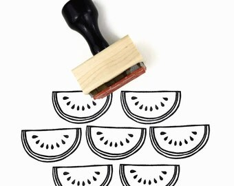 Watermelon Stamp - Water Melon Love Summer Rubber Stamp - Hand Drawn Design DIY Craft Project for Favors and Fabric Printing