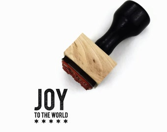 Joy to the World Christmas Stamp - Mini Holiday DIY Gift Tag Craft Rubber Stamp by Creatiate