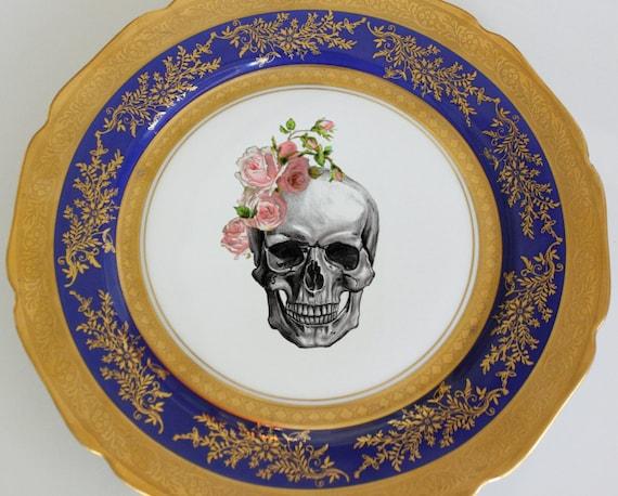 Blue and Gold Vintage Skull Dinner Plate 10.5\  Halloween Dishes Skull Dinnerware  sc 1 st  WTF Porcelain & Blue and Gold Vintage Skull Dinner Plate 10.5\