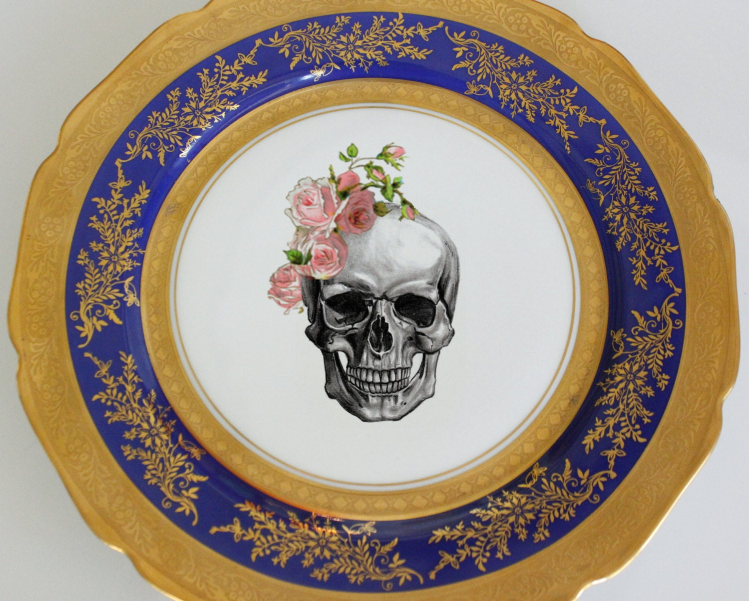 Blue and Gold Vintage Skull Dinner Plate 10.5  Halloween Dishes Skull Dinnerware Goth Plates Blue Gold Dinnerware Customizable  sc 1 st  WTF Porcelain : custom made dinner plates - pezcame.com