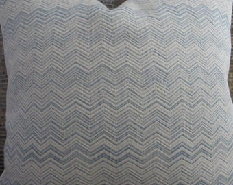 Deisgner Pillow Cover - Lumbar,16 x 16, 18 x 18, 20 x 20,22 x 22 -  Zig Zag Light Blue and Ivory