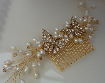 Bridal Hair comb hair vine: 50% OFF Stunning golden vintage butterflies nestled on freshwater pearl and golden crystal stems - something old