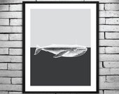 Moderrn Printable Poster - Gray on Gray Whale Print, Perfect wall decor for your Home or Nursery, - Instant Digital Download 16x20