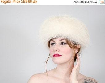 25% OFF SALE / 1960s vintage hat / fur hat / white fox fur hat by Marché