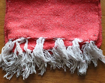 Coral Mexican Blanket, Pink Mexican Blanket, Salmon Colored Blanket with Tassels