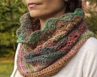 Crochet cowl PATTERN, crochet pattern neckwarmer, crochet loop scarf, circle scarf , DIY, photo tutorial