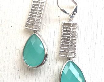 Aqua Jewel Dangle Earrings in Silver. Blue Drop Earrings. Drop. Fashion Earrings. Gift. Mothers Day Gift.