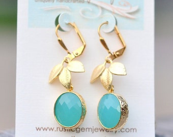 SALE - Turquoise Oval Drop and Gold Leaf Dangle Earrings. Drop Earrings.