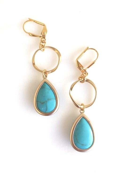 Turquoise Stone  Teardrop and Gold Circle Dangle Earrings.  Statement Earrings. Jewelry Gift. Modern Fashion Earrings. Chandelier Earrings.