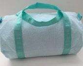 Personalized Duffel Bag - Mint/Aqua Seersucker - Dance Gymnastics Daycare Bag