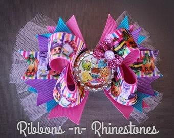 Colorful Shopkins Boutique Hair Bow, Shopkins Birthday Bow, Shopkins Party Bow, Shopkins Bow, Over the Top Shopkins Bow