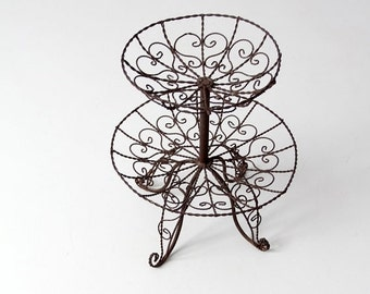 SALE vintage wrought iron stand, metal tiered basket, table display