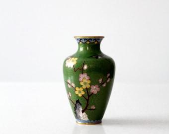 FREE SHIP  vintage Chinese cloisonné vase, small green floral enamel brass vase