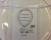First Communion Silver Cross Swarovski Pearl and Crystal Bracelet and Earrings Set